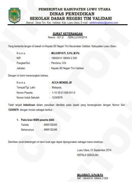 Surat Pernyataan Keliru Tulis Nisn Di Ijazah Sdn1angkasa